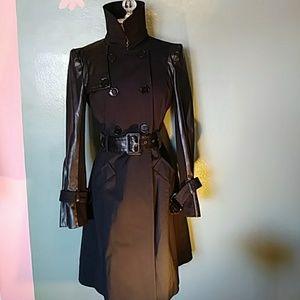 Bebe Black Double Breasted Trench Coat EUC Sz Shou